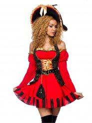 Rood en goudkleurig piraten kapitein kostuum voor dames