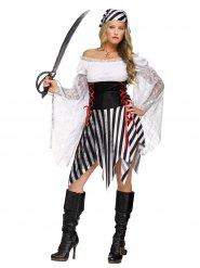 Zwart en wit piraten kostuum voor vrouwen