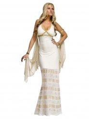 Wit en goudkleurig godin kostuum voor vrouwen