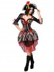 Sexy rood piraten korset kostuum voor vrouwen