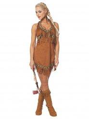 Bruin indiaan kostuum met franjes voor dames