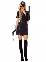 Zwart en blauw politie kostuum voor vrouwen