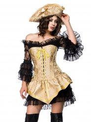 Sexy goudkleurig en zwart piraat kostuum voor dames