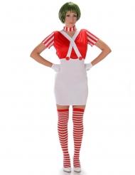 Rood chocolatiere kostuum voor dames