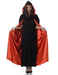 Rode en zwarte Halloween cape met capuchon voor volwassenen