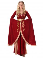 Rood met goud middeleeuwse koningin kostuum voor vrouwen