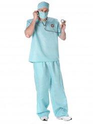 Blauw chirurg kostuum voor heren