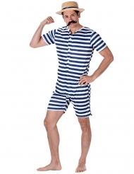Blauw en wit gestreept retro zwem outfit voor mannen
