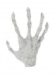 Hand decoratie met zilverkleurige glitters