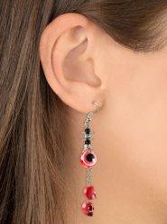 Rode doodskop en ogen oorbellen voor volwassenen