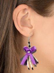 Paarse strik met skelethand oorbellen voor volwassenen