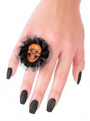 Doodskop ring met zwart en oranje tule