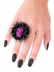 Zwarte en paarse doodskop ring