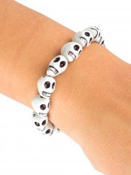 Witte doodskop armband
