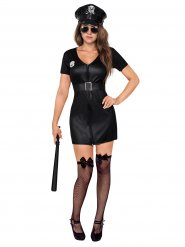 Zwart politie agente kostuum met pet voor vrouwen