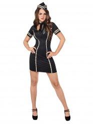 Zwart stewardess kostuum voor vrouwen