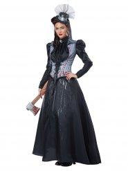 Zwart en grijs Victoriaans killer kostuum voor vrouwen