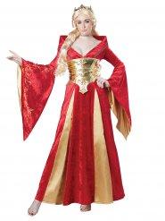 Goudkleurig en rood middeleeuws koningin kostuum voor dames