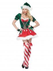 Sexy rood en groen kerstelf kostuum voor vrouwen