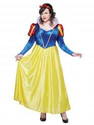 Geel en blauw Sneeuwwitje kostuum voor dames - Plus Size