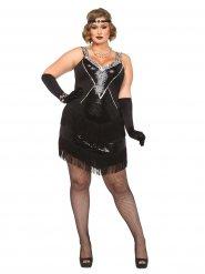 Jaren 20 kostuum met franjes en lovertjes voor vrouwen - Grote Maten