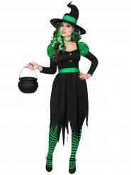 Groen en zwart heksenkostuum voor vrouwen