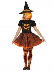 Zwart en oranje heksen kostuum voor meisjes