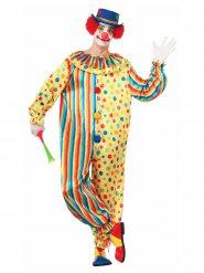 Veelkleurig stippen en strepen clown kostuum voor volwassenen