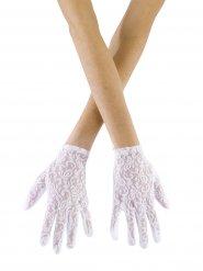 Witte stijlvolle kanten handschoenen