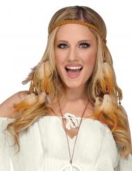 Jaren 60 hippie hoofdband met veren voor vrouwen