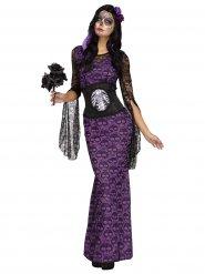 Paarse skelet jurk kostuum voor vrouwen