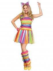 Veelkleurig pinata kostuum voor vrouwen