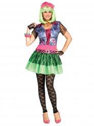 Veelkleurige jaren 80 rocker kostuum voor vrouwen