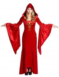 Rood middeleeuws kostuum voor vrouwen