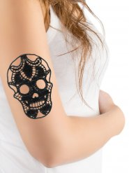 Zwarte doodskop kanten nep tatoeage