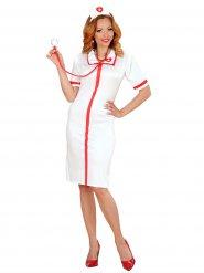 Sexy wit en rood verpleegster kostuum voor vrouwen