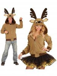 Bruin rendier vest met capuchon voor volwassenen