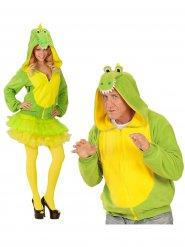 Grappige groene en gele krokodil outfit voor volwassenen