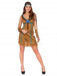 Blauw en bruin indianen kostuum voor vrouwen