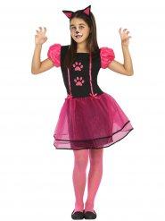 Zwart en roze katten jurk voor meisjes