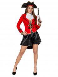 Zwart en rood piraten kostuum voor vrouwen