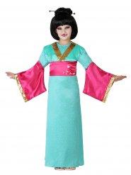 Groen en roze geisha kostuum voor meisjes