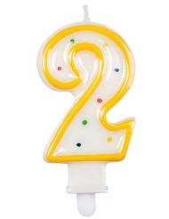Veelkleurig cijfer 2 verjaardagskaars