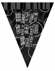 Grijze Happy Birthday vlaggenslinger