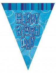 Blauwe Happy Birthday verjaardagsslinger
