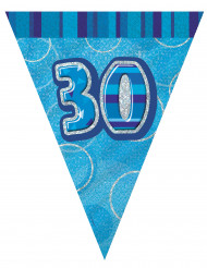 Blauwe 30 jaar verjaardagsslinger