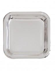 8 vierkante zilverkleurige borden