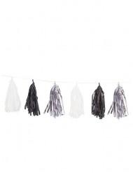 Zilverkleurige, zwarte en witte franje slinger