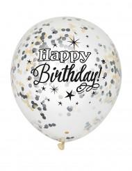 6 zilverkleurige en goudkleurige confetti ballonnen
