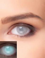 Witte UV ruitenpatroon contactlenzen voor volwassenen